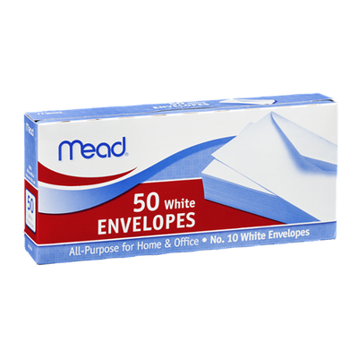 Mead No. 10 White Envelopes 4 1/8in x 9 1/2in - 50 CT