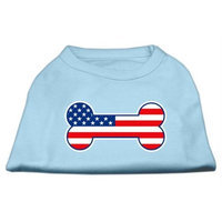 Mirage Pet Products 5108 XSBBL Bone Shaped American Flag Screen Print Shirts Baby Blue XS 8