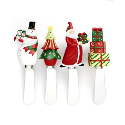 Certified International Christmas Presents Set of 4 Assorted Spreaders