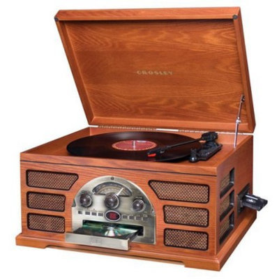 Crosley CR66 Rochester 5 in 1 Entertainment Center with auxiliary