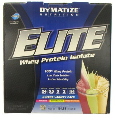 Dymatize Nutrition Elite Whey Protein Powder Juicers (Berry Blast, Smooth Banana and Orange Dreamsicle), 10 Pound