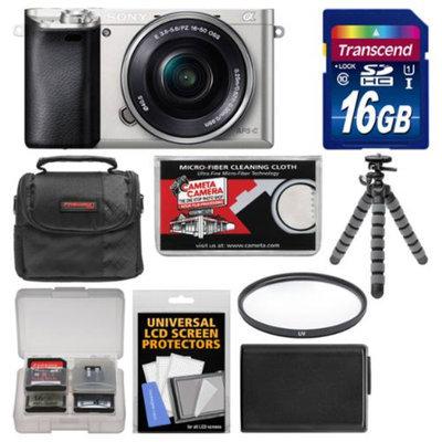 Sony Alpha A6000 Wi-Fi Digital Camera & 16-50mm Lens (Silver) with 16GB Card + Case + Battery + Flex Tripod + Filter Kit