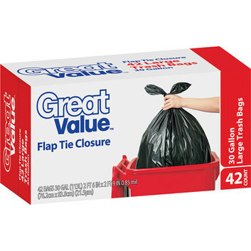 Great Value Flap Tie Closure Trash Bags