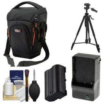 Vidpro TL-35 Top-Load DSLR Camera Holster Case (Large) with EN-EL15 Battery & Charger + Tripod + Cleaning Kit for Nikon D7000, D600, D800