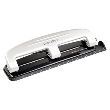 Accentra Inc. PaperPro 12 Sheet Capacity Rubber Base Three Hole Punch - Gray