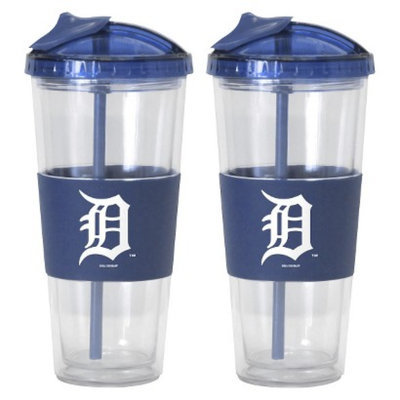 Boelter Brands MLB Tigers Set of 2 No Spill Straw Tumbler - 22oz