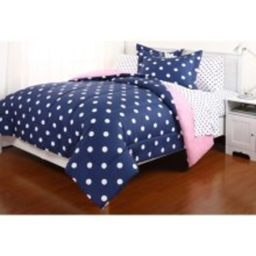 RYR 5pc Blue Pink Reversible Polka Dot TWIN Comforter Set (5pc Bed in a Bag)