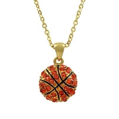 Emitations Lisa's Rhinestone Basketball Pendant Necklace