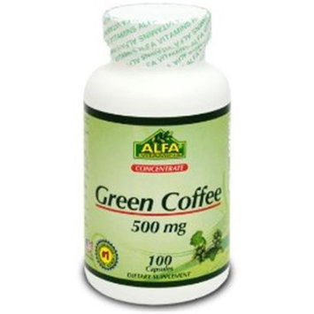 Alfa Vitamins GCf96260 Green Coffee Bean Extract 500mg 100 Capsules
