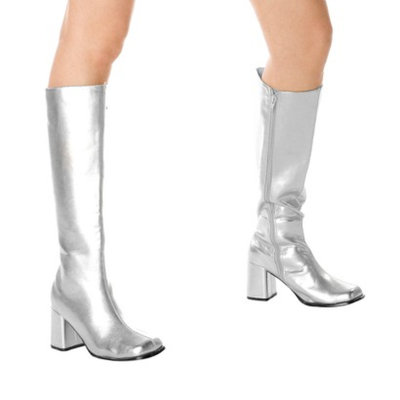 Buy Seasons Silver Gogo Boots Adult - 9.0