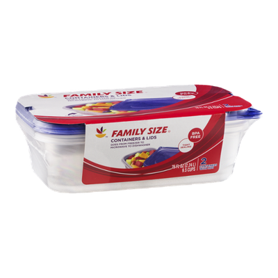 Ahold Family Size Containers & Lids - 2 CT