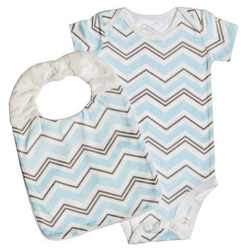 Evergreen Enterprises Modern Classic Everyday Blue Chevron Bodysuit With Bib Set Of 2