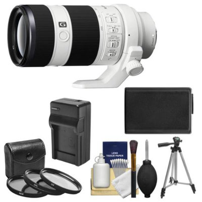 Sony Alpha E-Mount FE 70-200mm f/4.0 G OSS Zoom Lens with NP-FW50 Battery & Charger + Tripod + Kit for A7, A7R, A7S Digital Cameras