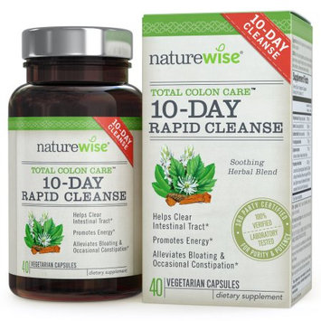 NatureWise Total Colon Care: 10-Day Rapid Cleanse for Colon Health, Promotes Energy & Alleviates Bloating, 40 Caps