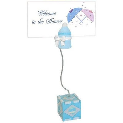 Baby Shower Favors Blue Bottles and Blocks Magnetic Placecard / Photo Holder (Blue Bottles Place card 6 Pak)