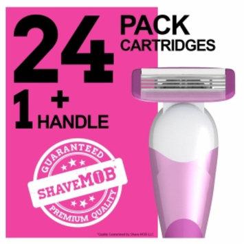Shavemob ShaveMob Women's 3 Blade Shaving Razor Kit - 24 Cartridges & 1 Handle, 1 set