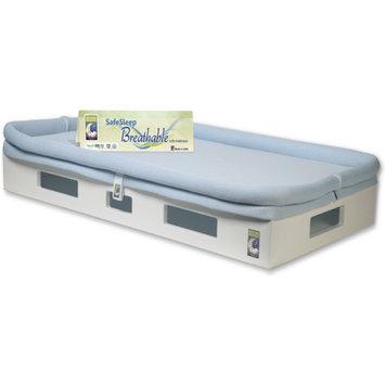 SafeSleep Breathable Crib Mattress, White Base, Light Blue Surface