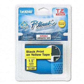 Brother International TZE661 Tze Standard Adhesive Laminated Labeling Tape 1-1/2w Black On Yellow