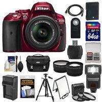 Nikon D5300 Digital SLR Camera & 18-55mm G VR DX II AF-S Lens (Red) with 64GB Card + Battery + Charger + Case + Tripod + Flash + Tele/Wide Lens Kit