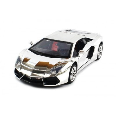 8814 2 Electric Full Function 1:18 Metal Diecast Lamborghini Aventador RTR RC Car with Opening Hood & Doors (Chrome Edition)
