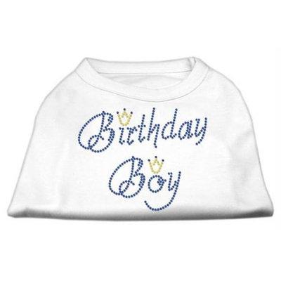 Mirage Pet Products 52-10 SMWT Birthday Boy Rhinestone Shirts White S - 10