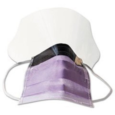Medline Fluid-Resistant Surgical Face Masks with Eyeshield,Purple, 100 Each / Case