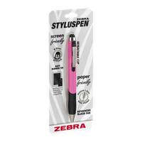 Zebra StylusPen Retractable Ball Point Black Ink Medium 1.0mm Pink