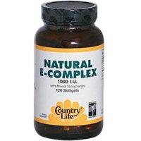 Country Life Vitamin E Complex 1000 I.U., Softgels, 120-Count