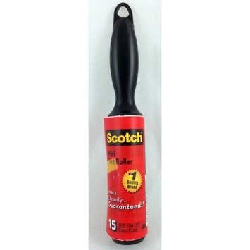 Scotch 836MR-15 Mini Lint Roller, 15 sheets 3 in x 3.9 ft, Tears Cleanly [Bundle of 1 roll]