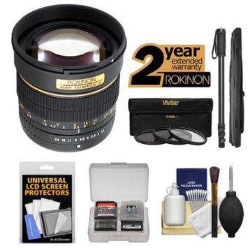 Rokinon 85mm f/1.4 Aspherical Automatic Lens with 3 Filters + Monopod Kit for Nikon D3200, D3300, D5200, D5300, D7100, D610, D750, D810 Camera