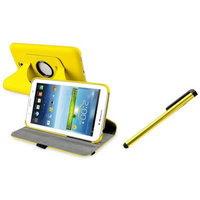 Insten INSTEN Yellow 360 Rotating Leather Stand Case Cover for Samsung Galaxy Tab 3 Kids+Pen
