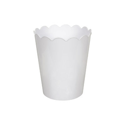 Hefty 2.3 GALLON SCALLOP VANITY WASTECAN WHIT