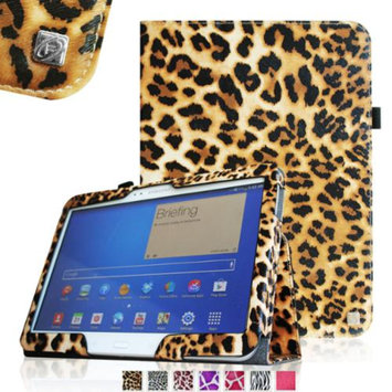 Fintie Folio Case Slim Fit Premium Vegan Leather Cover for Samsung Tab 4 10.1 10-Inch Tablet, Leopard Brown