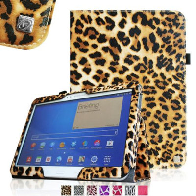 Fintie Folio Case Slim Fit Premium Vegan Leather Cover for Samsung Tab 4 10.1 10-Inch Tablet, Leopard Brown