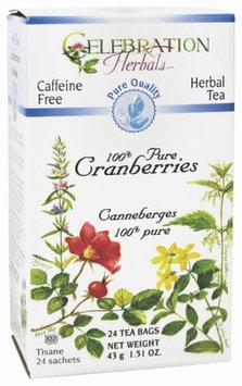 Celebration Herbals - Organic Caffeine Free 100% Pure Cranberries Herbal Tea - 24 Tea Bags