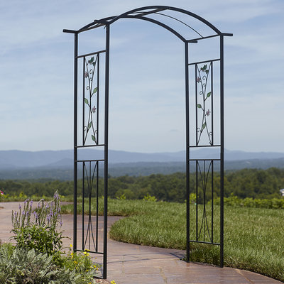 Essential Garden Garden Arbor with Stained Glass - TAIWAN NAN SHAN BAMBOO WARE CO