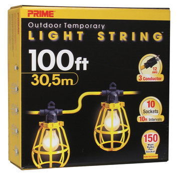 Prime Wire LSUG2835 100-Feet 10-Bulb 12/3 SJTW Outdoor Temporary Light String, Yellow