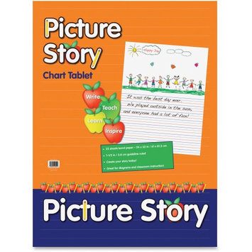 Pacon Ruled Picture Story Chart Tablet - 25 Sheets - Printed - Spiral Bound - Both Side Ruling Surface - Ruled - 24 X 32 - White Paper - Recycled - 25sheet (mmk07430)