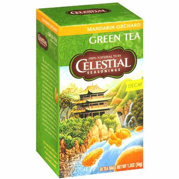 Celestial Seasonings Green Tea Caffeine Free Mandarin Orchard 20 Tea Bags Case of 6