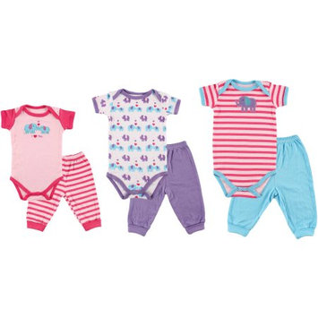 Baby Vision Luvable Friends Girls 6 Piece Elephant Grow With Me Gift Set with 3 Bodysuits and 3 Pants- 0-9 Months