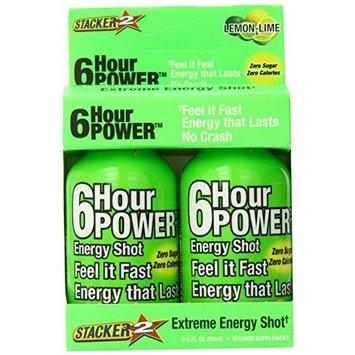 Stacker 6 Hour Power Energy Shot Bottle, Lemon Lime, 2-Count Boxes (Pack of 6)