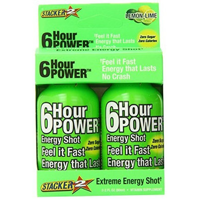 Stacker 6 Hour Power Energy Shot Bottle, Lemon Lime, 2-Count Boxes (Pack of 6)