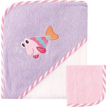 Luvable Friends Hooded Towel with Washcloth, Fish