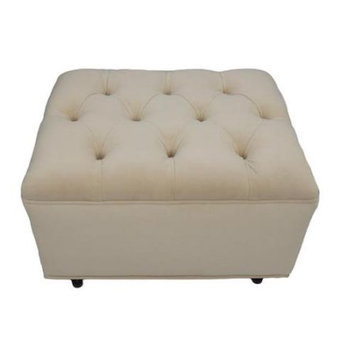 Fun Furnishings Tres Chic Ottoman - Buckwheat Bella Velvet