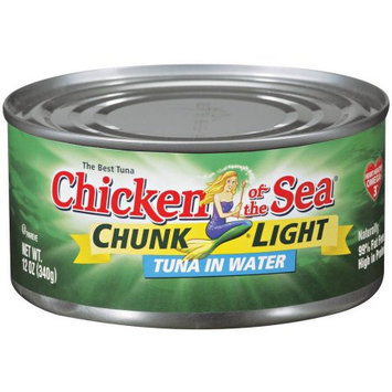 Chicken of the Sea Chunk Light Tuna in Water, 12 Ounce (Pack of 6)