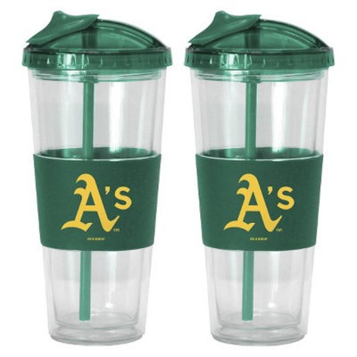 Boelter Brands MLB Athletics Set of 2 No Spill Straw Tumbler - 22oz