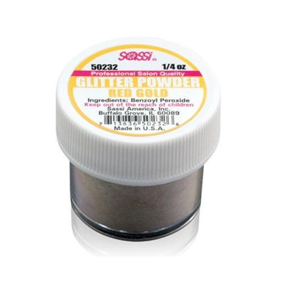 1/4 Ounce Red Gold - Glitter Acrylic Powder by Sassi for Beautiful Nails