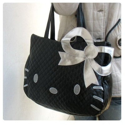 Bonne Bell Hello Kitty Head Shaped Tote Shoulder Bag Black