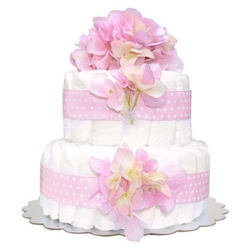 Bella Sprouts Diaper Cake, Two Tier, Pink/White (Discontinued by Manufacturer)