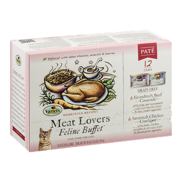 Variety Feline Buffet Cat Food Meat Lovers Pate - 12 CT
